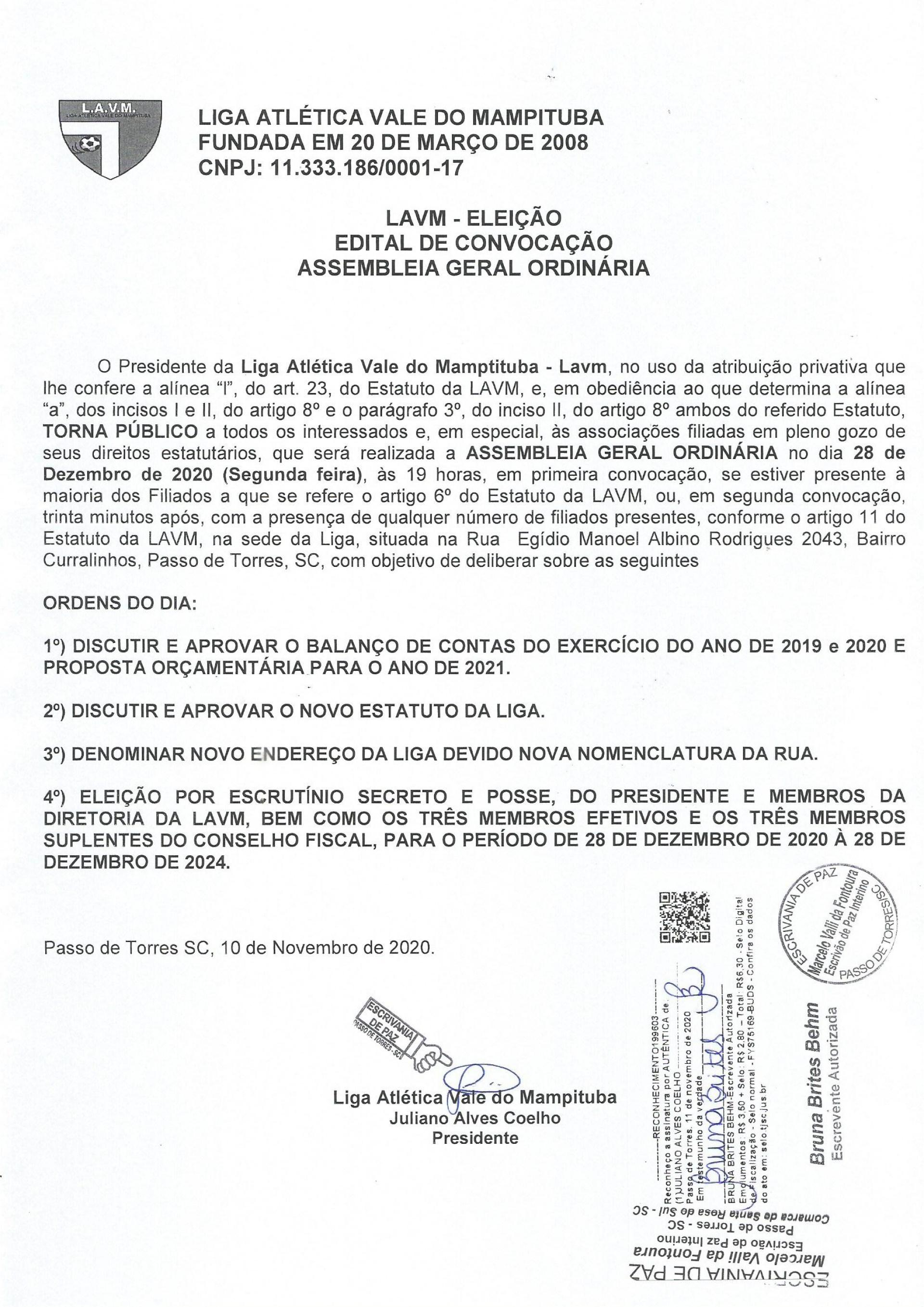 LAVM DIVULGA EDITAL PARA ELEIÇÃO DA NOVA DIRETORIA DA ENTIDADE
